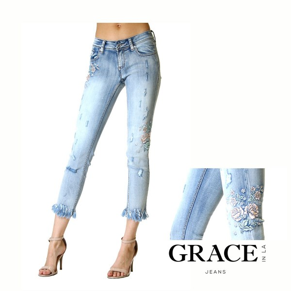 JuniorFit Skinny Jeans L. Wash Floral