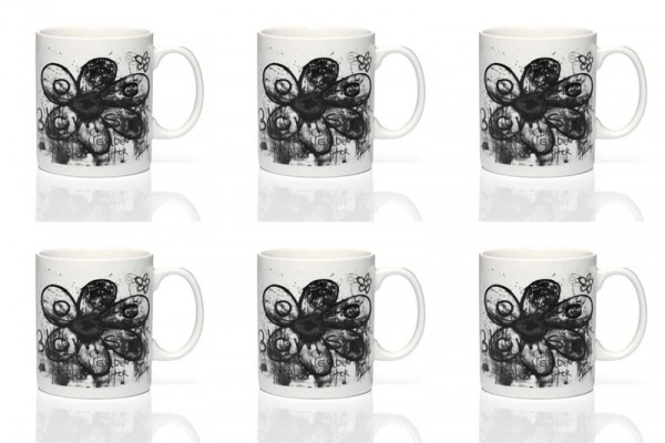 PAVA more flowers-black 6Stk. Becher