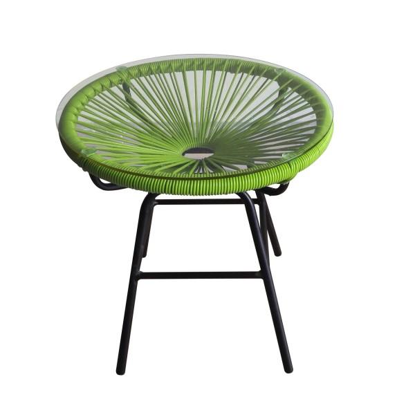 Bistrotisch rund mit Glasplatte - grün