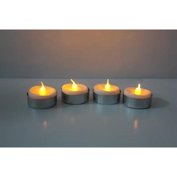 LED Rechaudkerzen Set 4St. inkl.Batterien,u. Ersatzbatterien, Teelicht LED 4Stk., +4 extra Batterien
