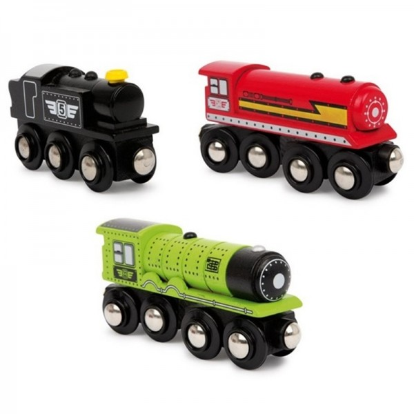 Holzzug Loks, 3er Set Lokomotiven