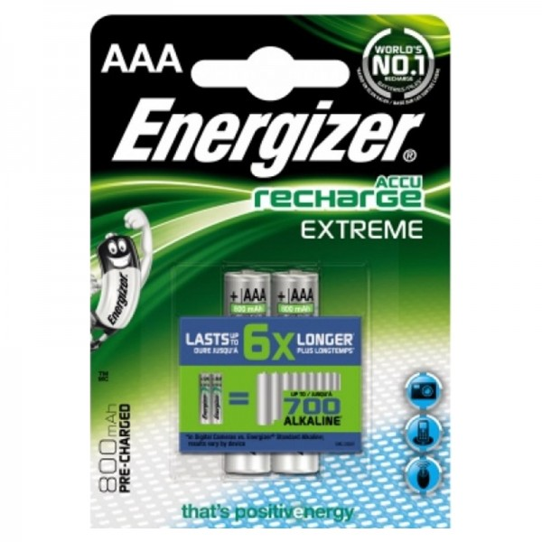 Energizer piles recharchable, Accu type AAA 2pc, 800mAh