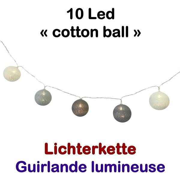 Lichterkette 10 Led Cottonball Blue