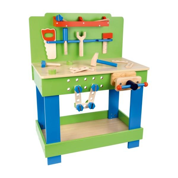 Kinderwerkbank aus Holz mit Werkzeug