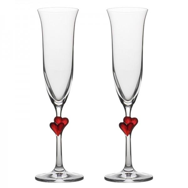 2pc verres à champagne, cours rouge