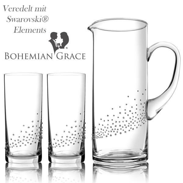 Karaffe mit 2 Gläser, Bohemian Grace V