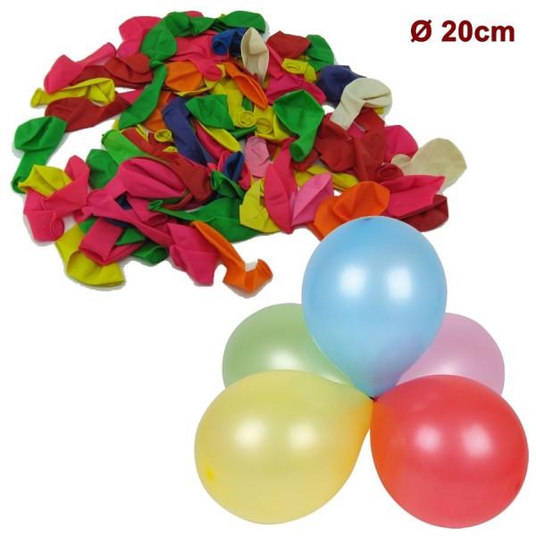 Ballon, 100Stk Luftballon 20cm, bunt Mix
