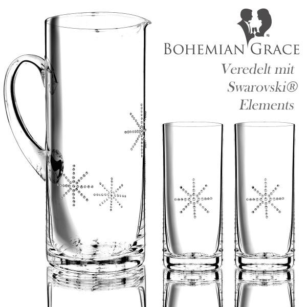 Karaffe mit 2 Gläser, Bohemian Grace STR