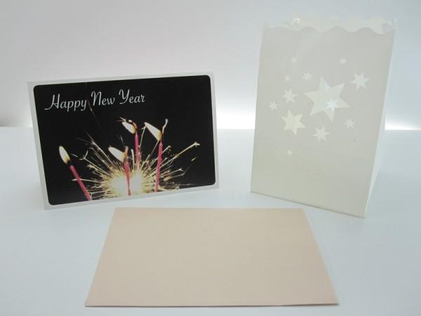 Carte de vœux, lumière decorative Happy
