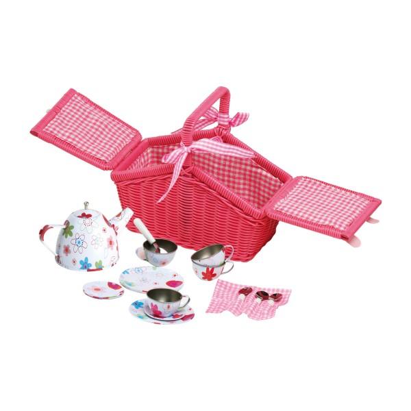 Kinder Picknickkorb Rosa - bunte Blumen