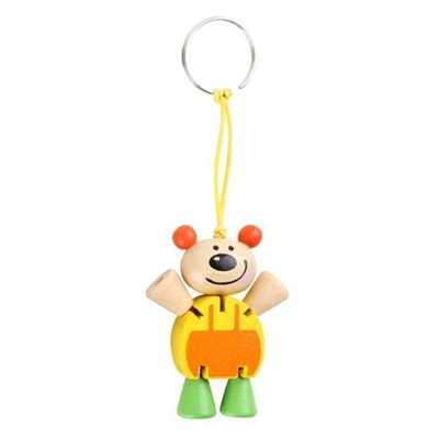 Schlüsselanhänger, Flexi Tier Bär, Gelb