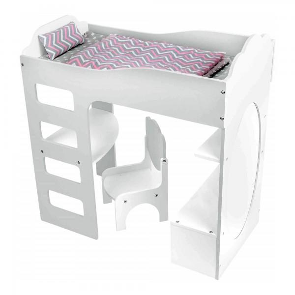 Puppenhochbett mit Schreibtisch