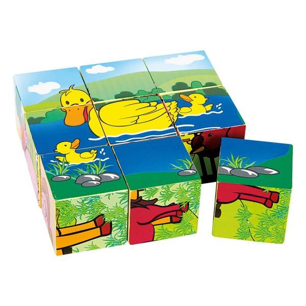 Würfel Puzzle -Bauernhof-, aus Holz