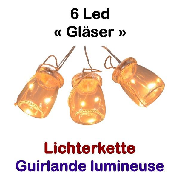 Lichterkette 6 x Einmachglas 18 Led