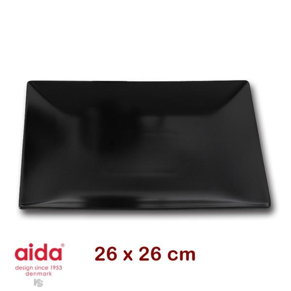 aida QSB assiette plate noir carré 26cm