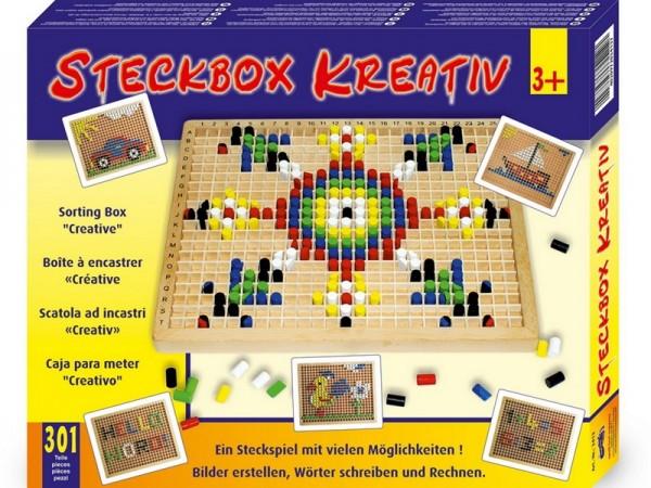 Mosaik Steckbox mit bunten Holzstiften