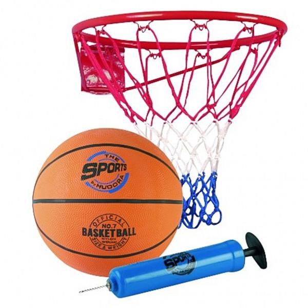 Basketball Ball mit Korb und Ballpumpe