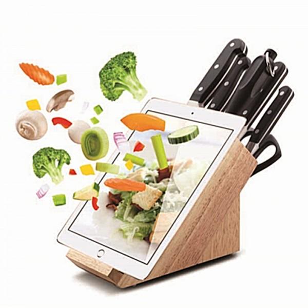 Messerblock mit Tablethalter und Messer