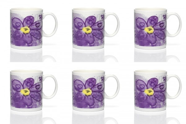 PAVA more flowers-purple 6pc mug