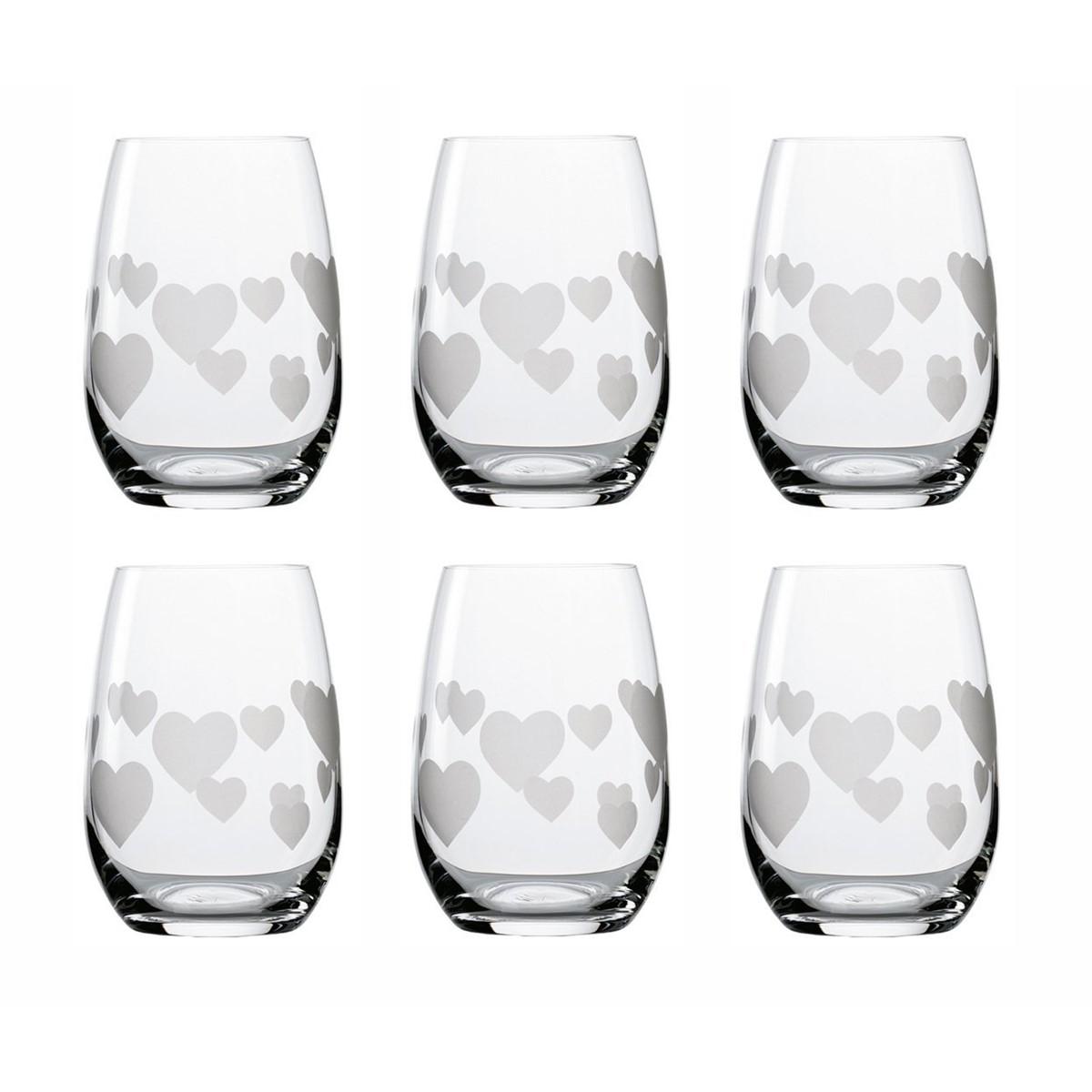 Glas L'Amour, 6Stk Trinkgläser (Becher) mit Herzen satiniert, 6Stk Trinkgläser mit Herzen satiniert