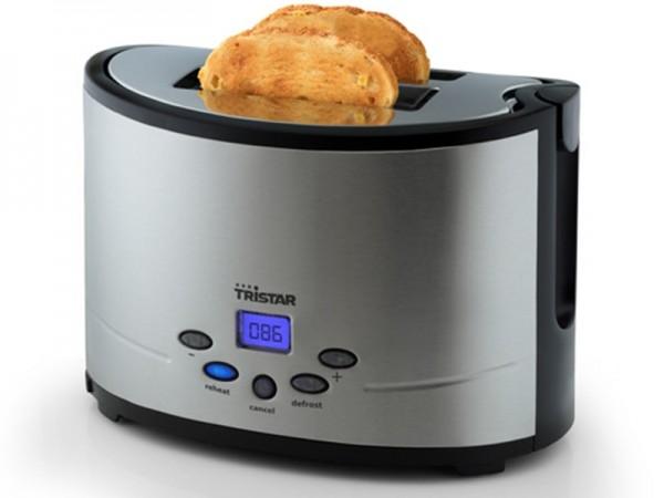 Toaster mit LCD Display, Edelstahl