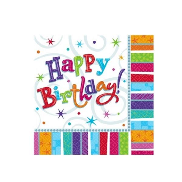 Servietten Happy Birthday (Pack à 16Stk)