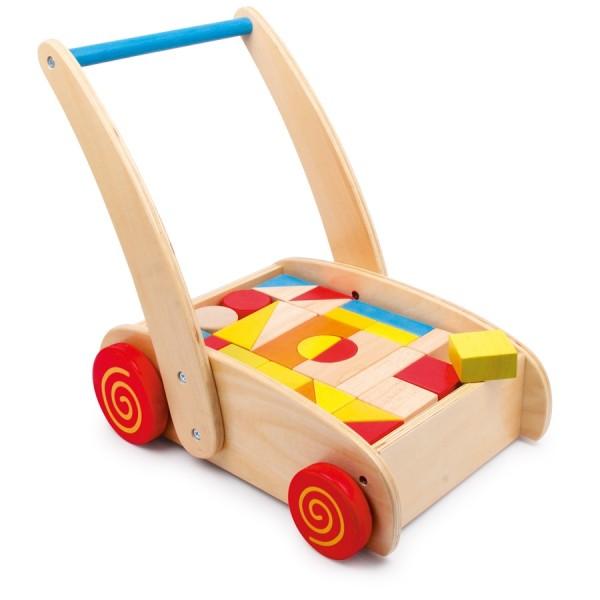 Kleinkinder Lauflernwagen mit Bauklötzen