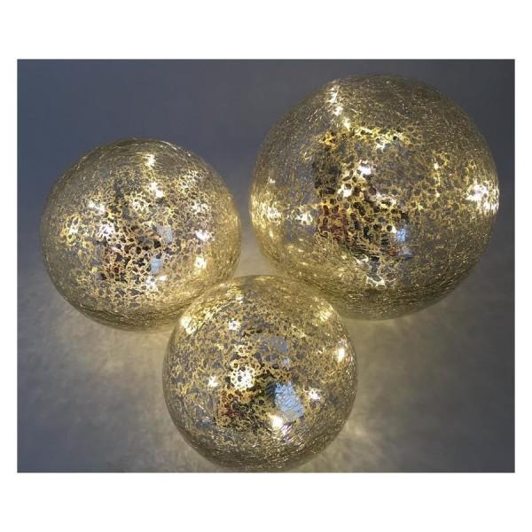 Glas Kugel mit LED Beleuchtung, 3er Set
