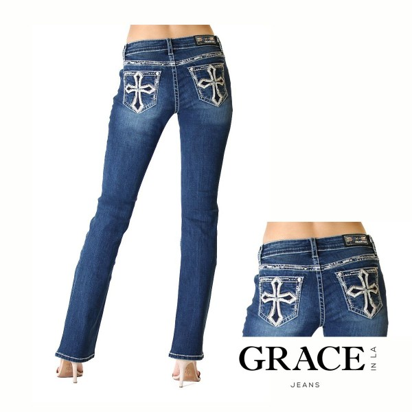 JuniorFit Bootcut Jeans White Cross