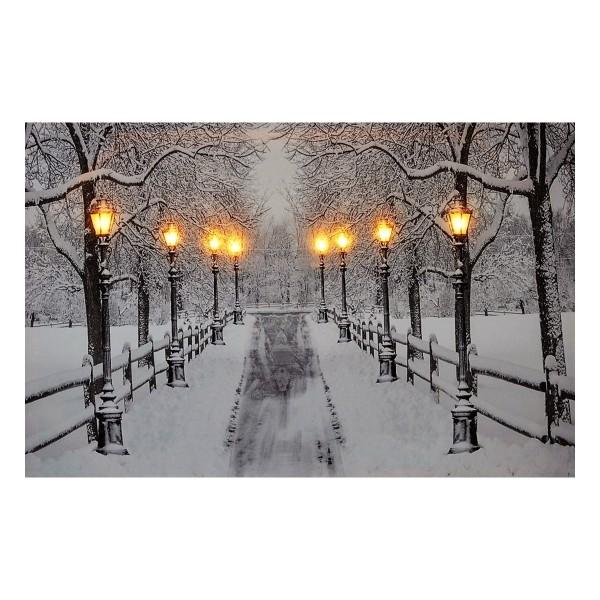 LED Bild 60 x 40 cm -Verschneite Allee