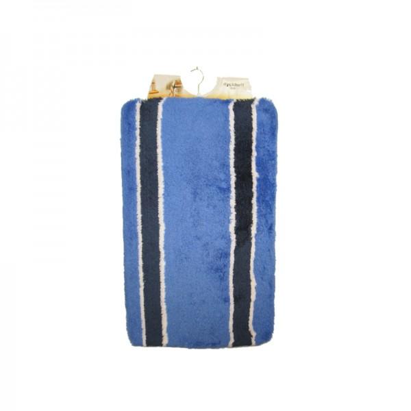 OPAL bleu royal rayé contour WC,tapis WC