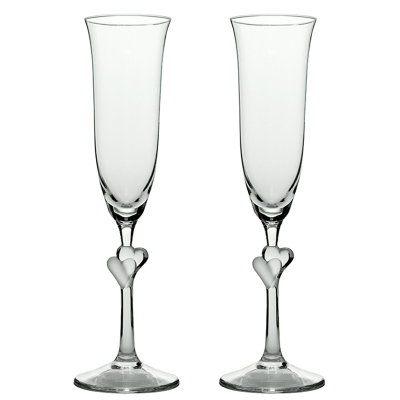 Sektglas, Champagnerglas Amour,mit Herzen satiniert,Set 2Stk, 2Stk. Sektgläser mit Herzen, satiniert