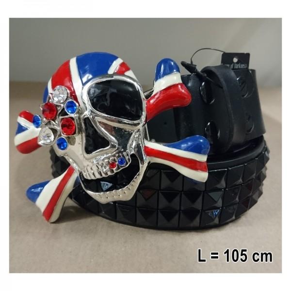 Gürtel mit Schnalle skull brit flag,105