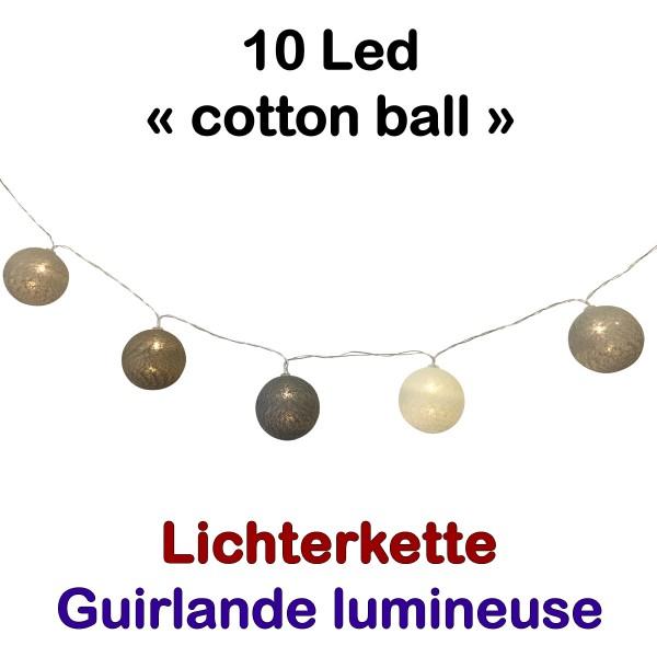 Lichterkette 10 Led Cottonball Beige